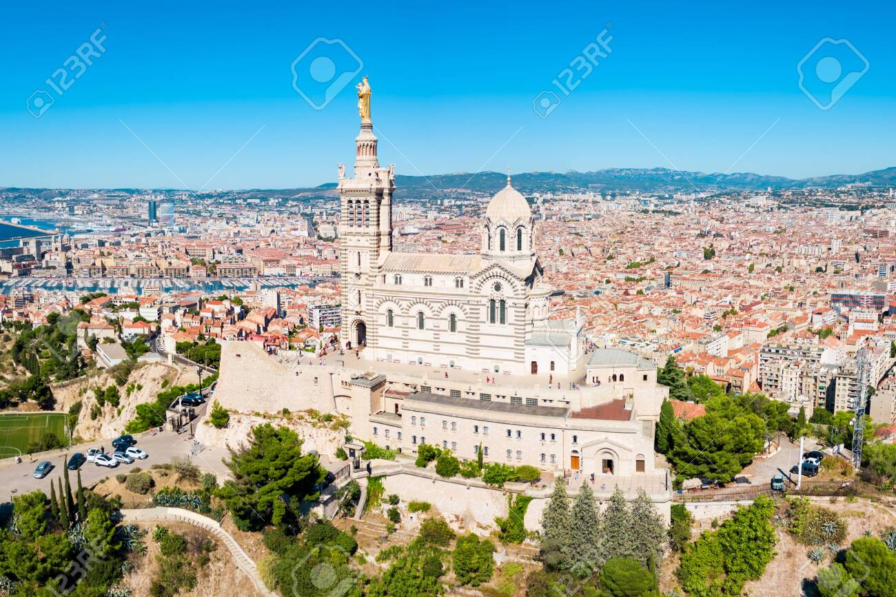 Notre Dame de la Garde or Our Lady of the Guard aerial view, it is a catholic church in Marseille city in France - 129569037