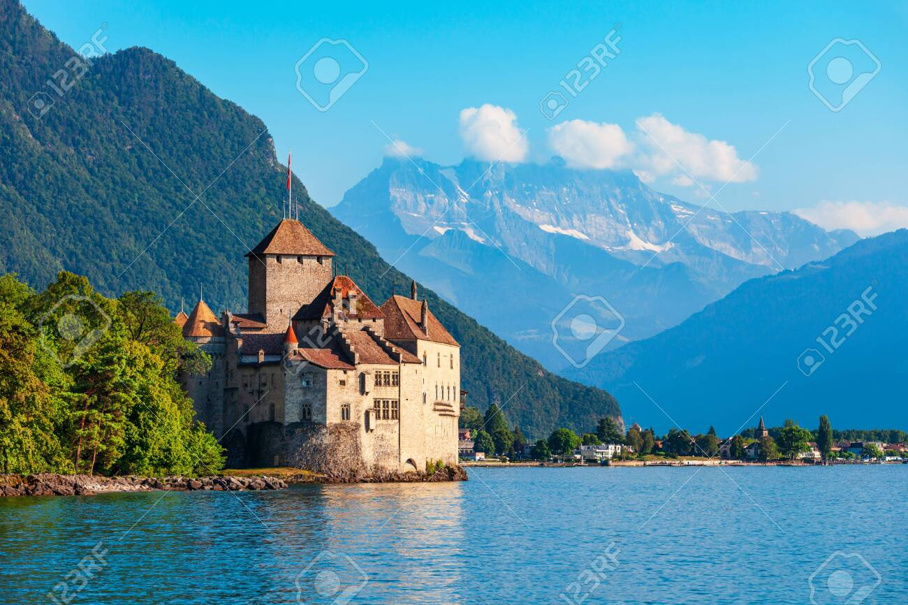Chillon Castle or Chateau de Chillon is an island castle located on Lake Geneva near Montreux town in Switzerland - 134979052