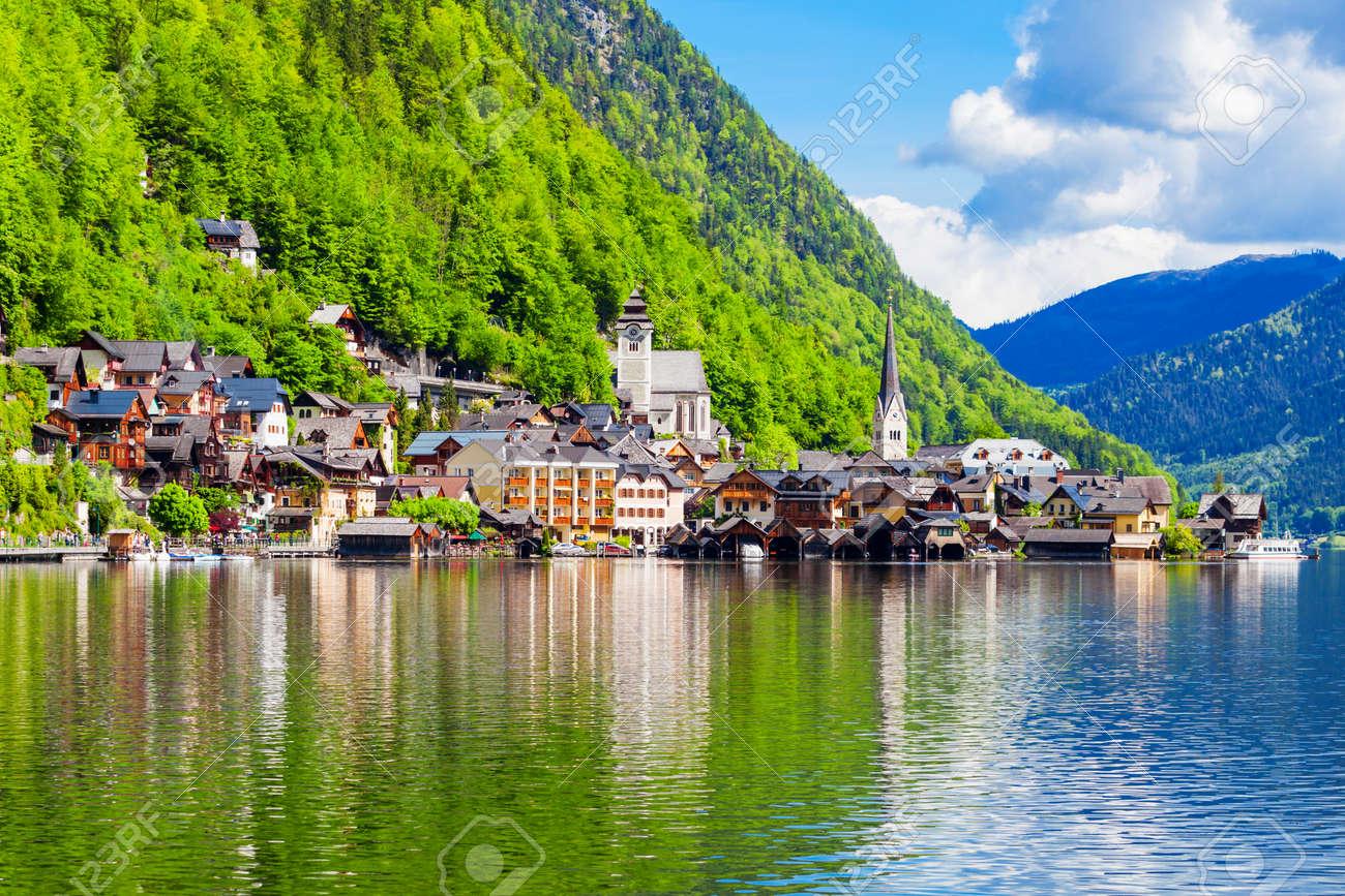 Hallstatt old town and Hallstatter See lake in Upper Austria. Hallstatt is a village in the Salzkammergut region near Salzburg in Austria. - 165952006