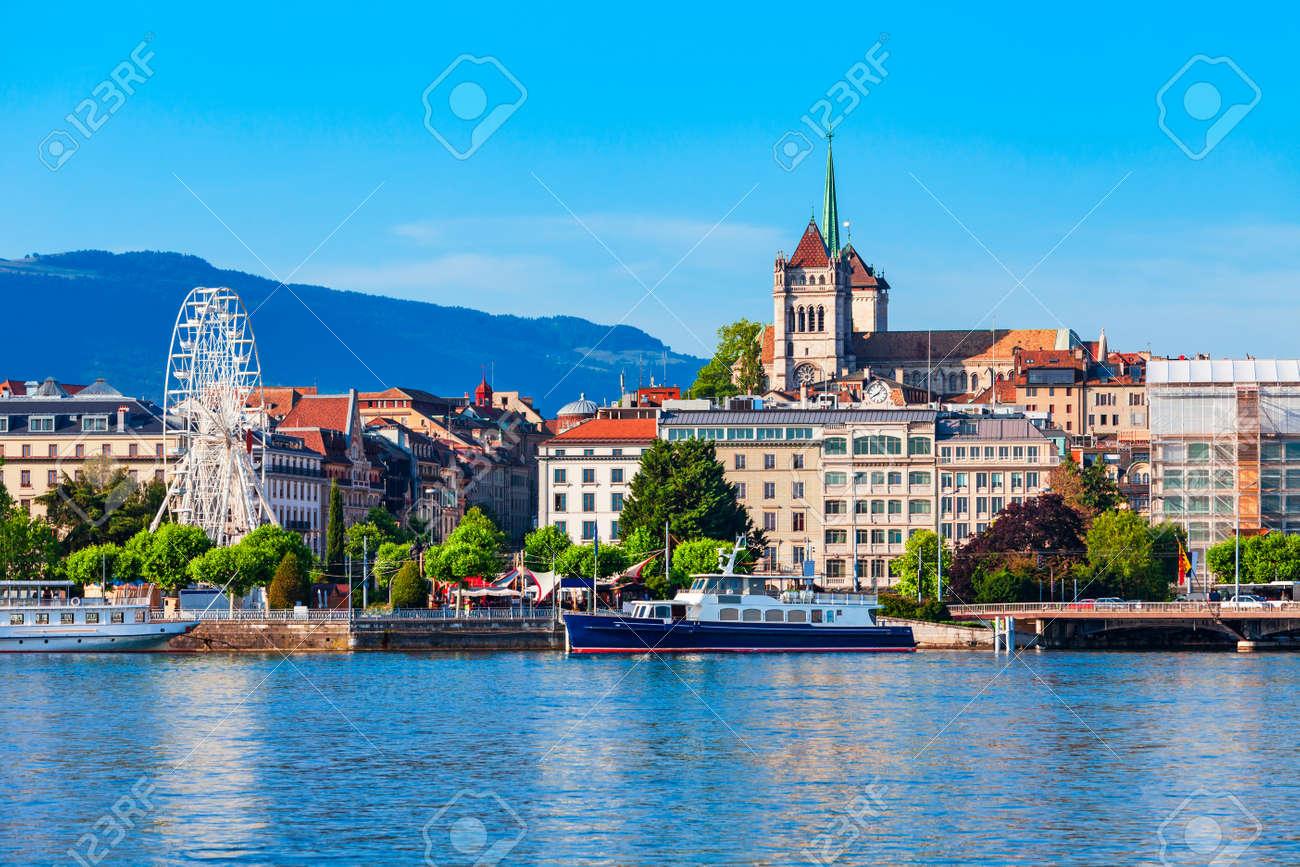 Geneva city panoramic view. Geneva or Geneve is the second most populous city in Switzerland, located on Lake Geneva. - 169784064
