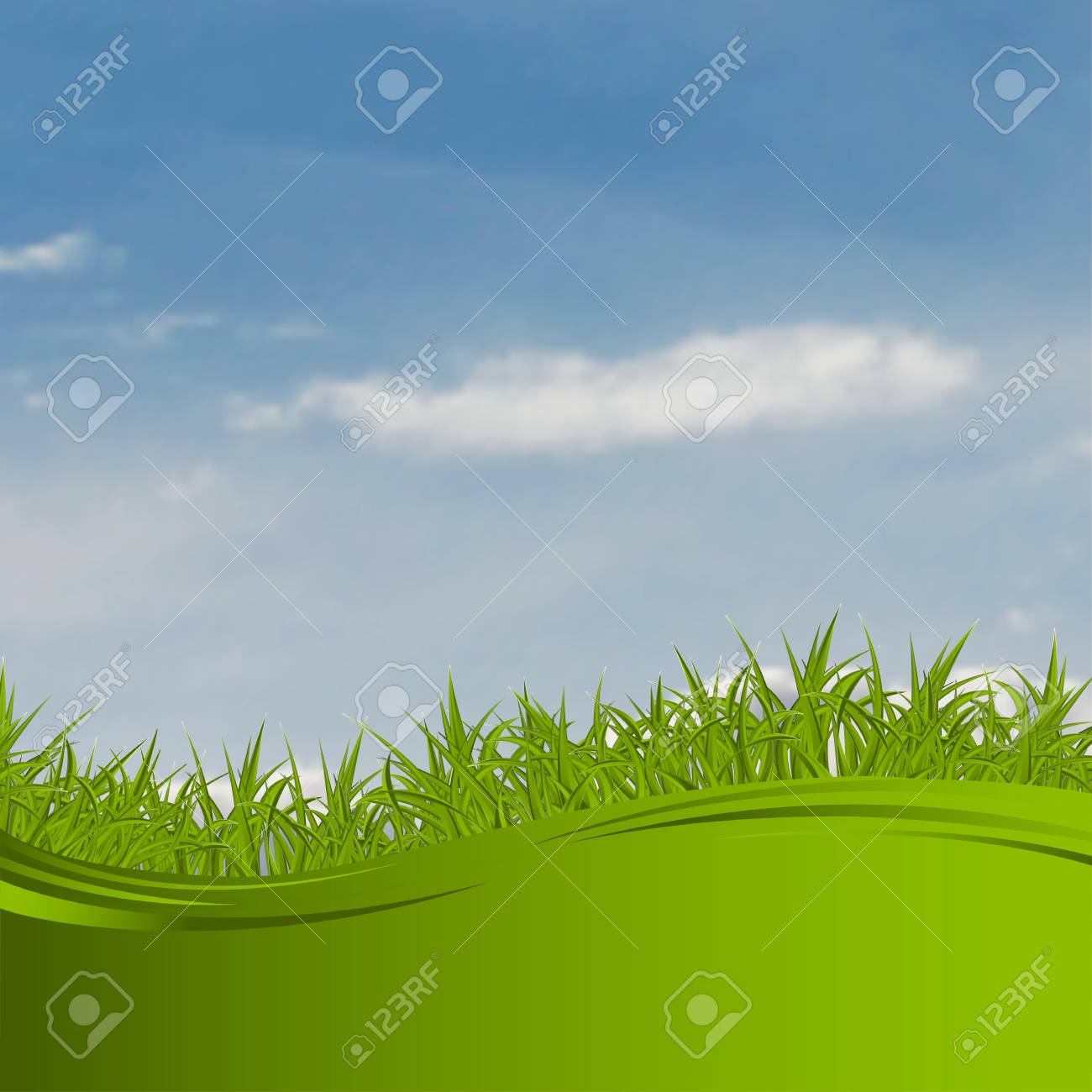 landscape with clouds and a grass Stock Vector - 17600288