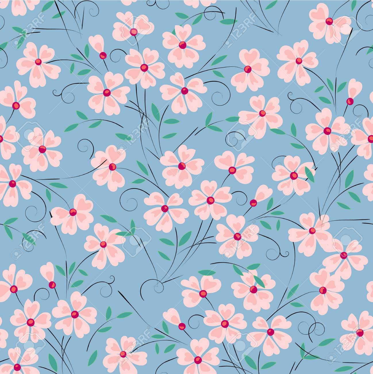 Abstract Pink Flower On A Turquoise Background For Design Use