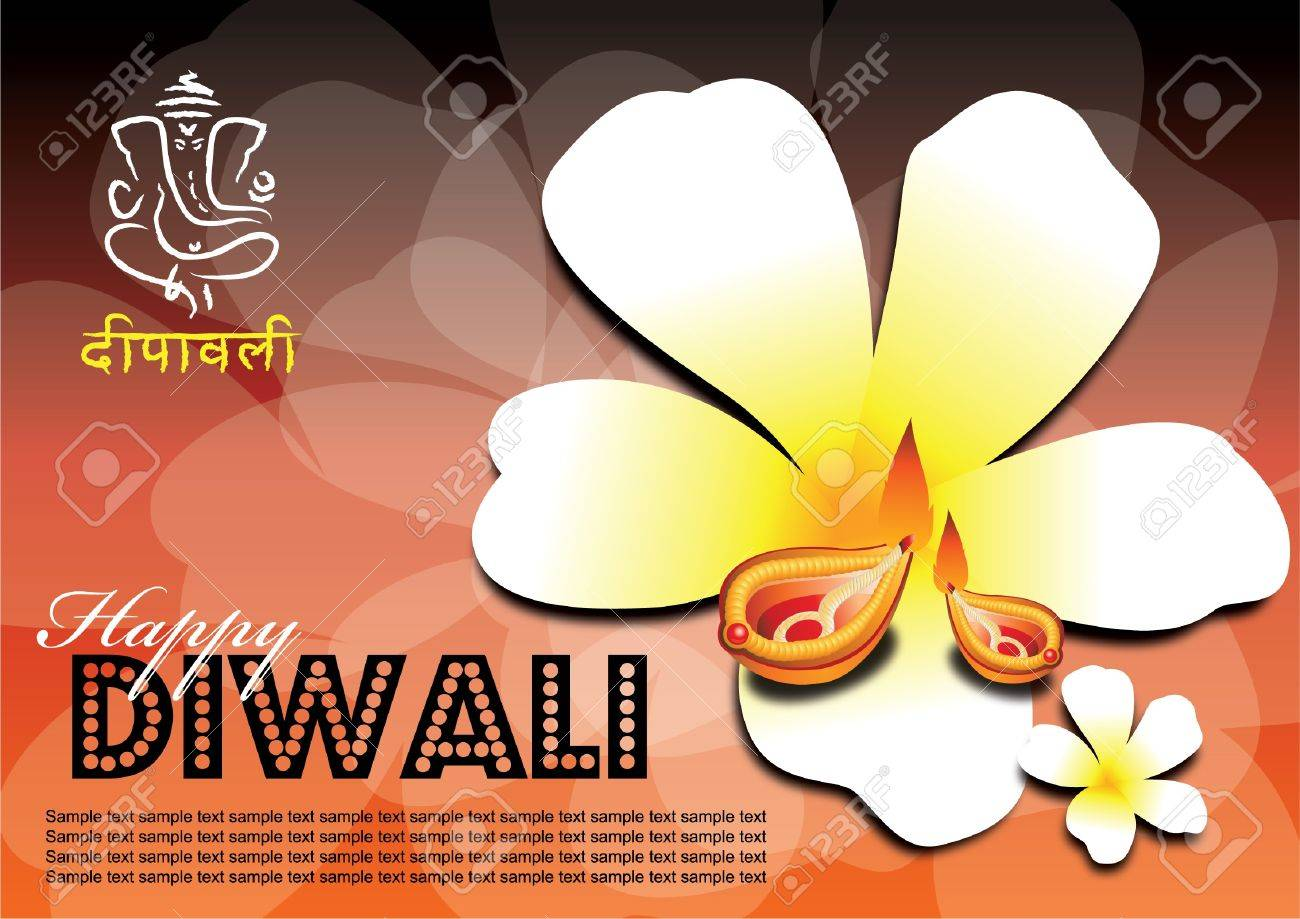 Free font use in artwork... Diwali popularly known as the festival of lights is an important festival in Hinduism, Jainism, and Sikhism, occurring between mid-October and mid-November. Stock Vector - 10875023