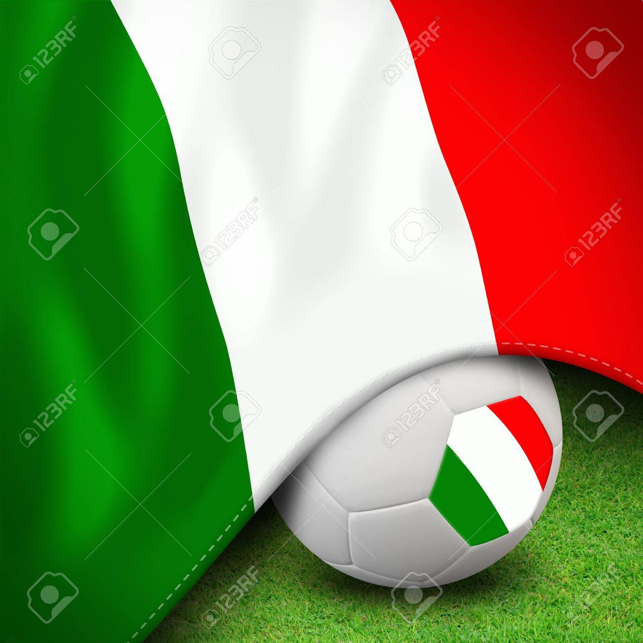 Soccer ball and flag euro italy for euro 2012 group c Stock Photo - 12822450