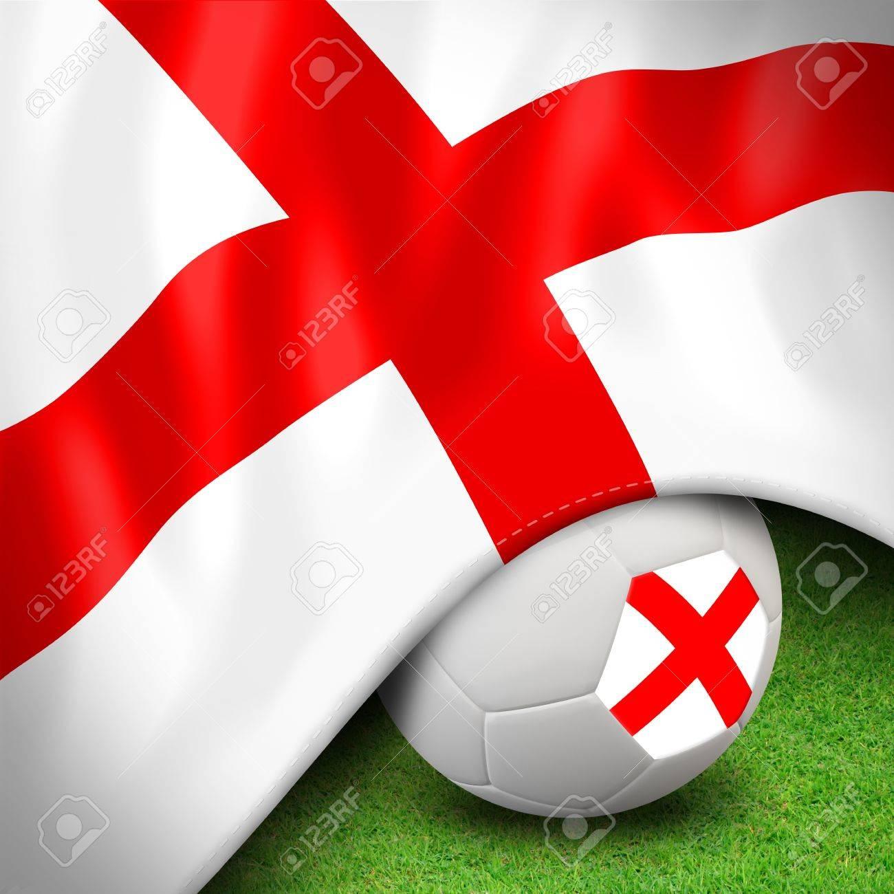 Soccer ball and flag euro england Stock Photo - 12842378