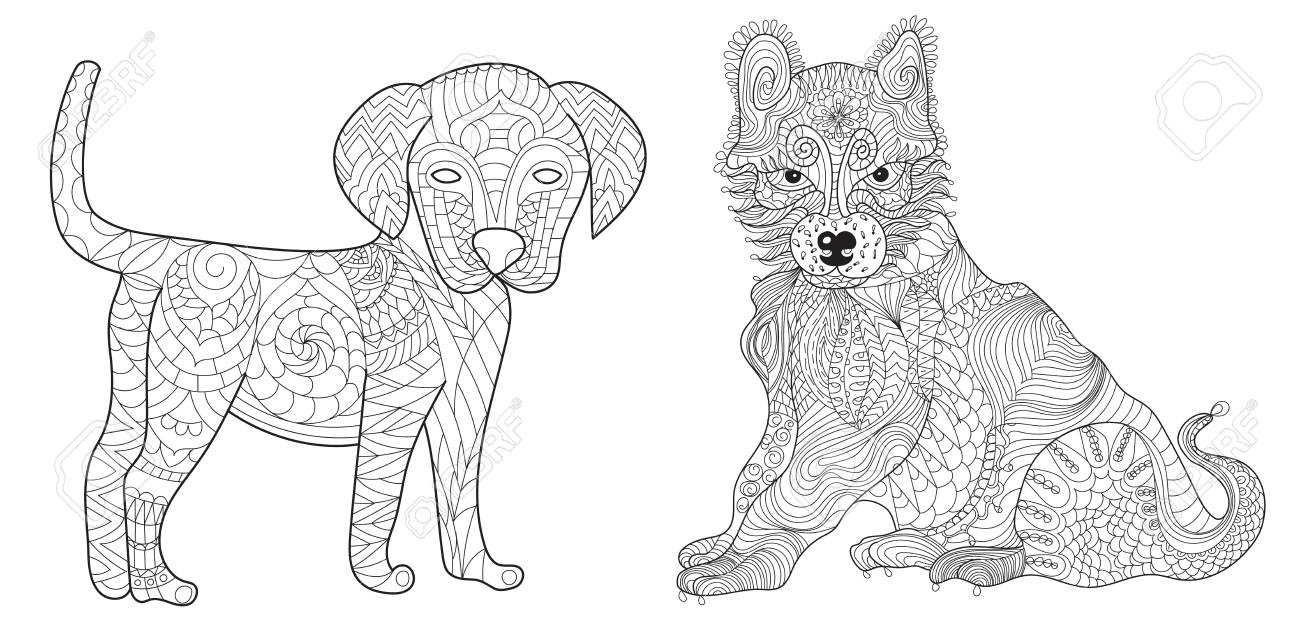 Set of 2 dogs anti stress vector coloring book for adult. Ornament..