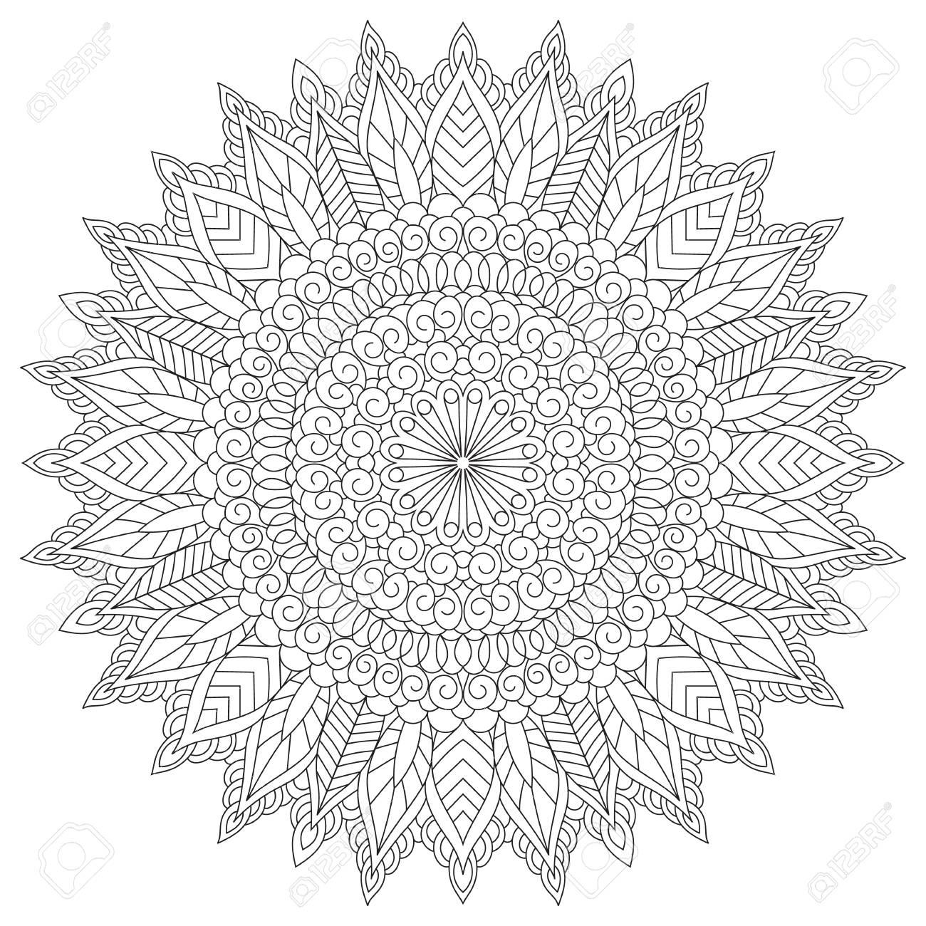 Mandala coloring book page design. Flower circular anti stress..