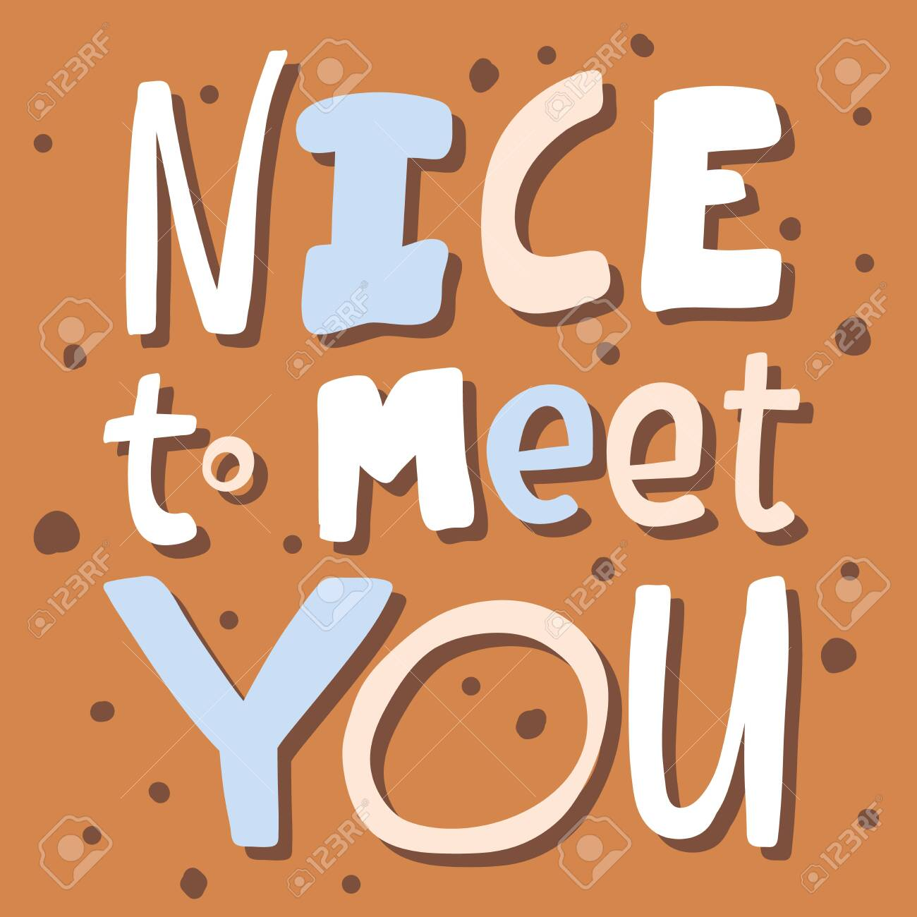 Nice to meet you. Sticker for social media content. Vector hand drawn illustration design. - 151543762