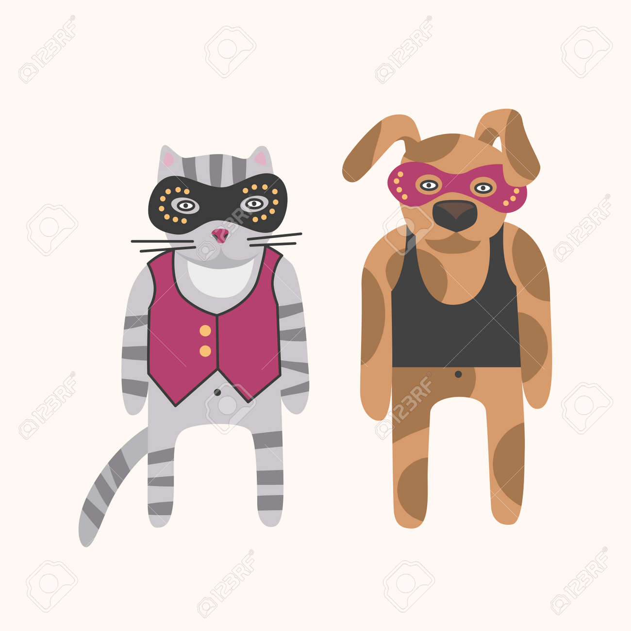 Cat and dog in carnival robber thief mask. Pets illustration on light background - 159858382