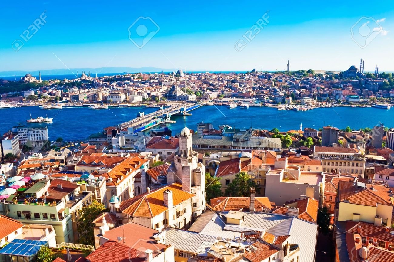 Istanbul. Panoramic View from Galata tower to Golden Horn, Turkey Stock Photo - 4935733
