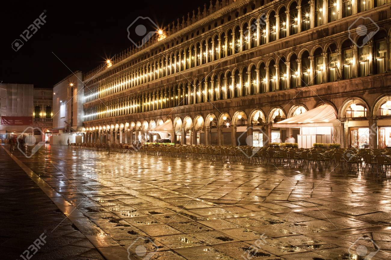 Beautiful Night View Of Famous San Marco Square In Venice, Italy ...