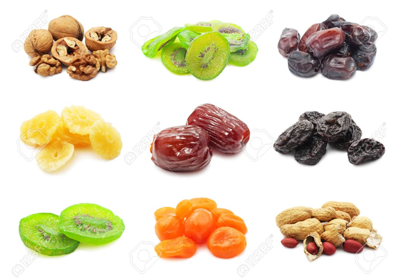 Collection of dried fruits isolated on white Stock Photo - 24709579