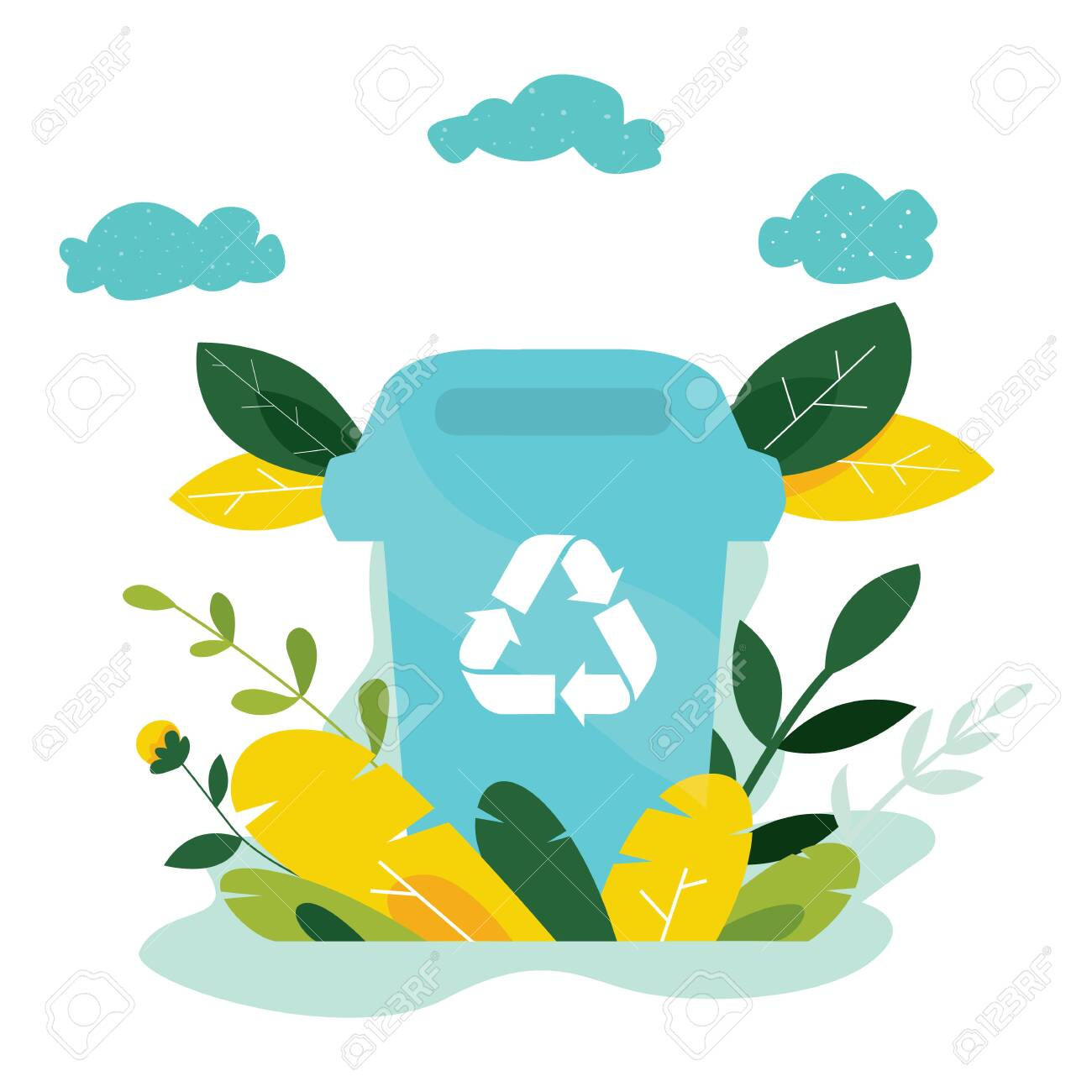 Ecology concept. Protect nature and ecology banner. Earth day. Garbage container with trees, plants. Vector illustration. - 134587489