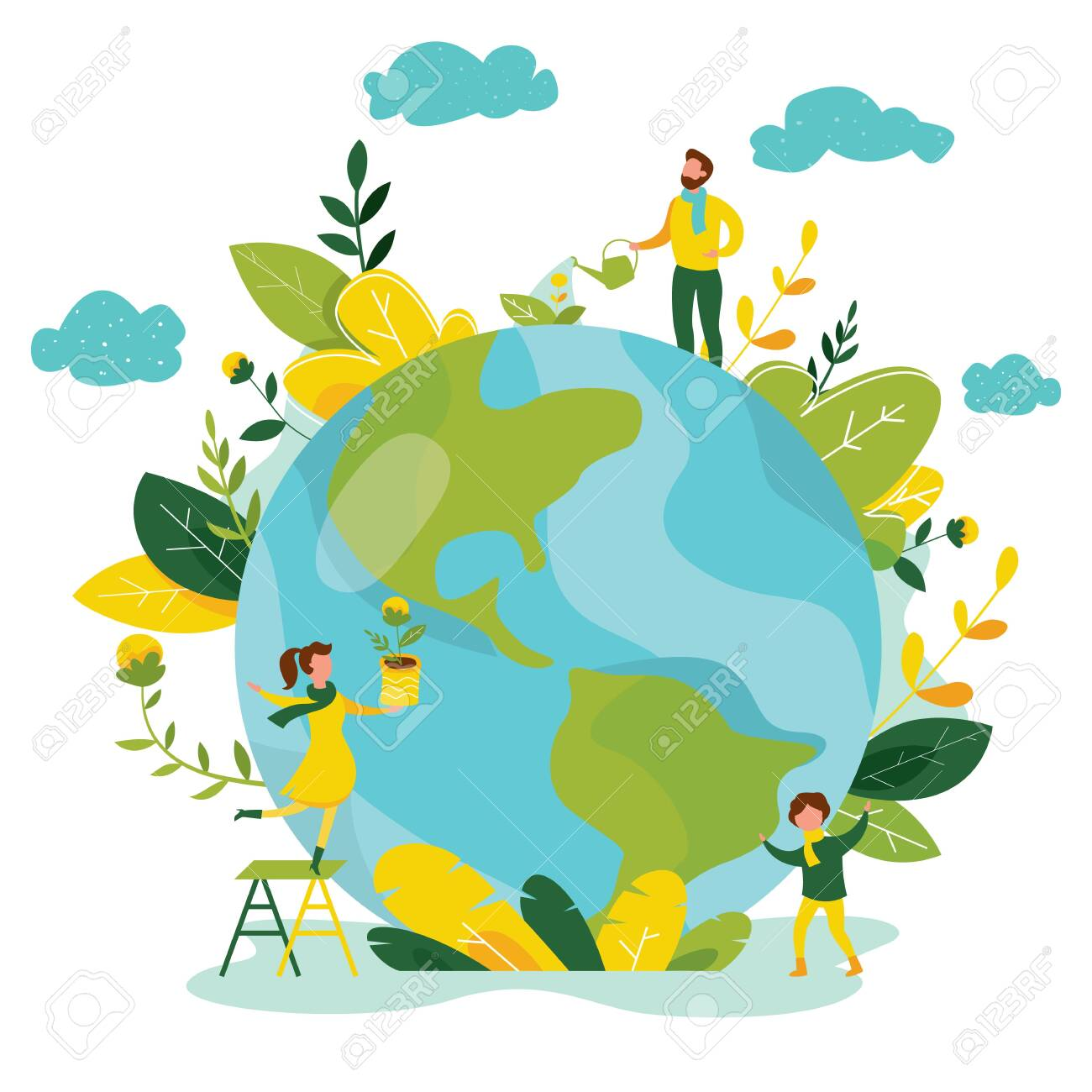 Ecology concept. People take care about planet ecology. Protect nature and ecology banner. Earth day. Globe with trees, plants and volunteer people. Vector illustration. - 134587374