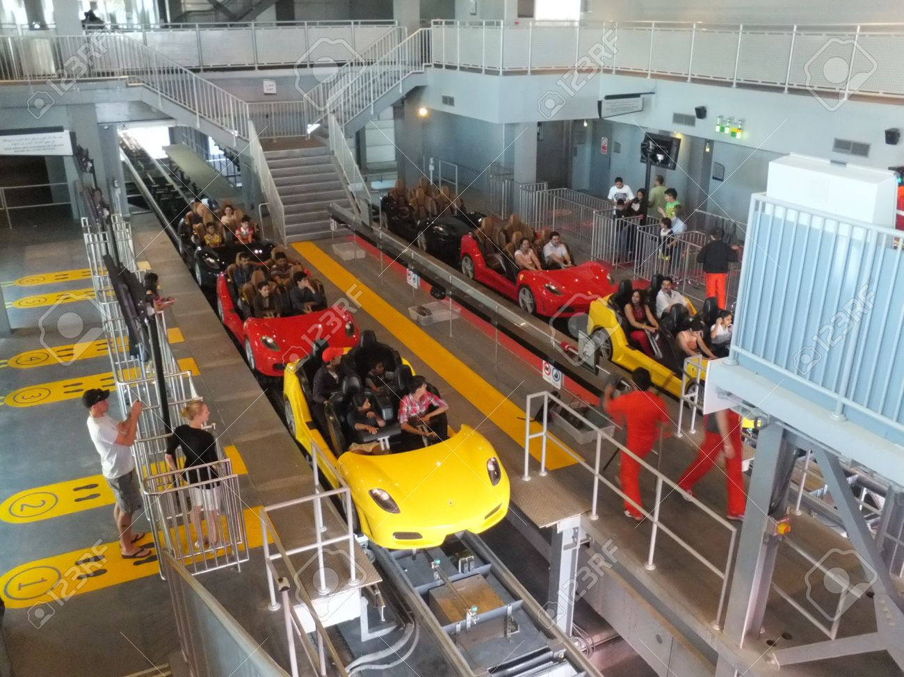 ABU DHABI, UAE - DEC 22 Roller Coaster At Ferrari World On Yas ...