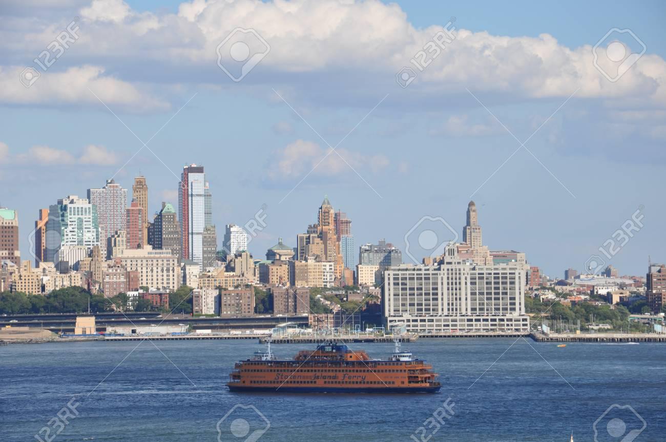 Hudson Bay New York.New York Ny September 8 Staten Island Ferry Passes The Hudson