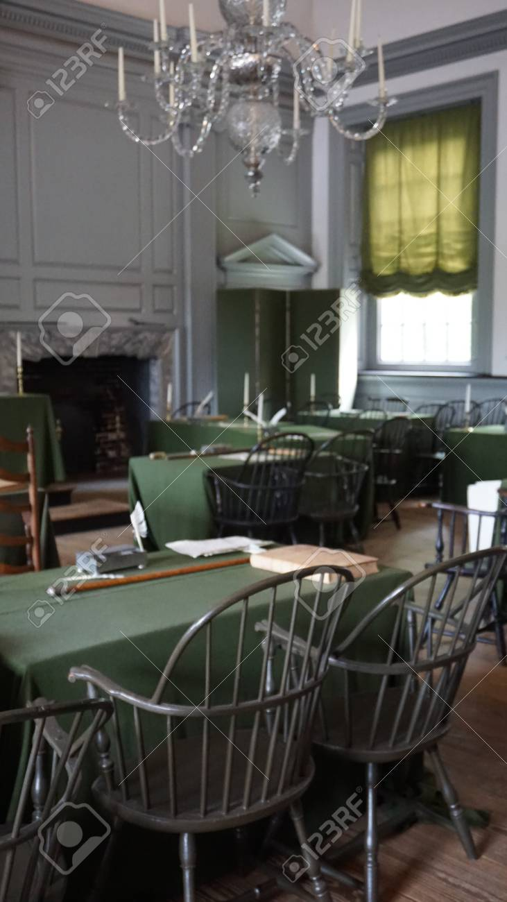 PHILADELPHIA, PA   MAY 10: Restored Assembly Room With Rising Sun Chair Of  George