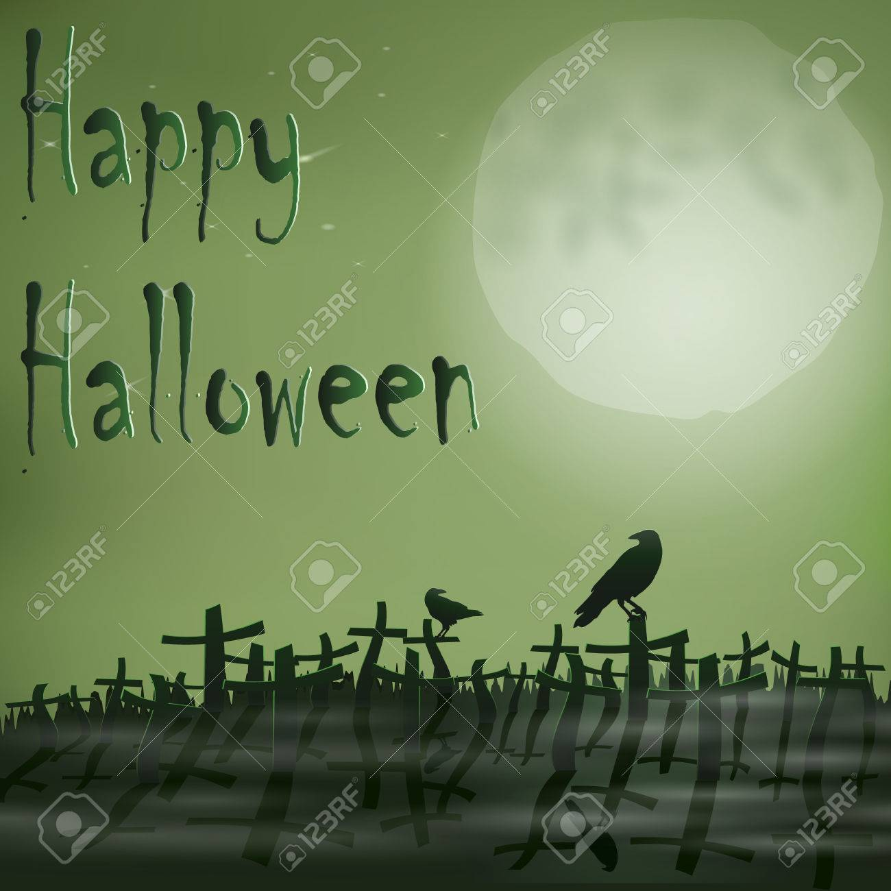 halloween cemetery moon ravens royalty free cliparts, vectors, and