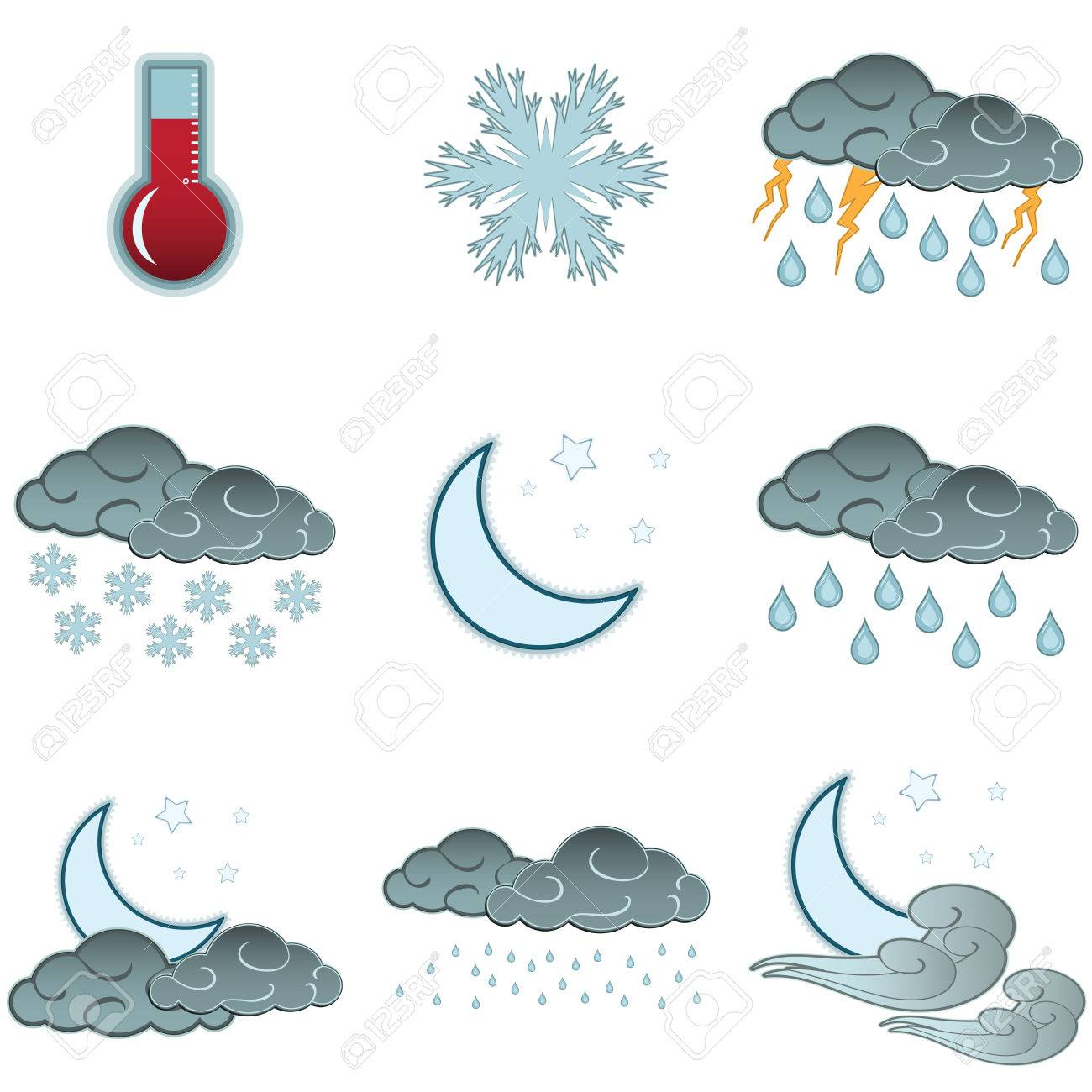 Night Day Weather Colour Icons Set Isolated On White Background ...