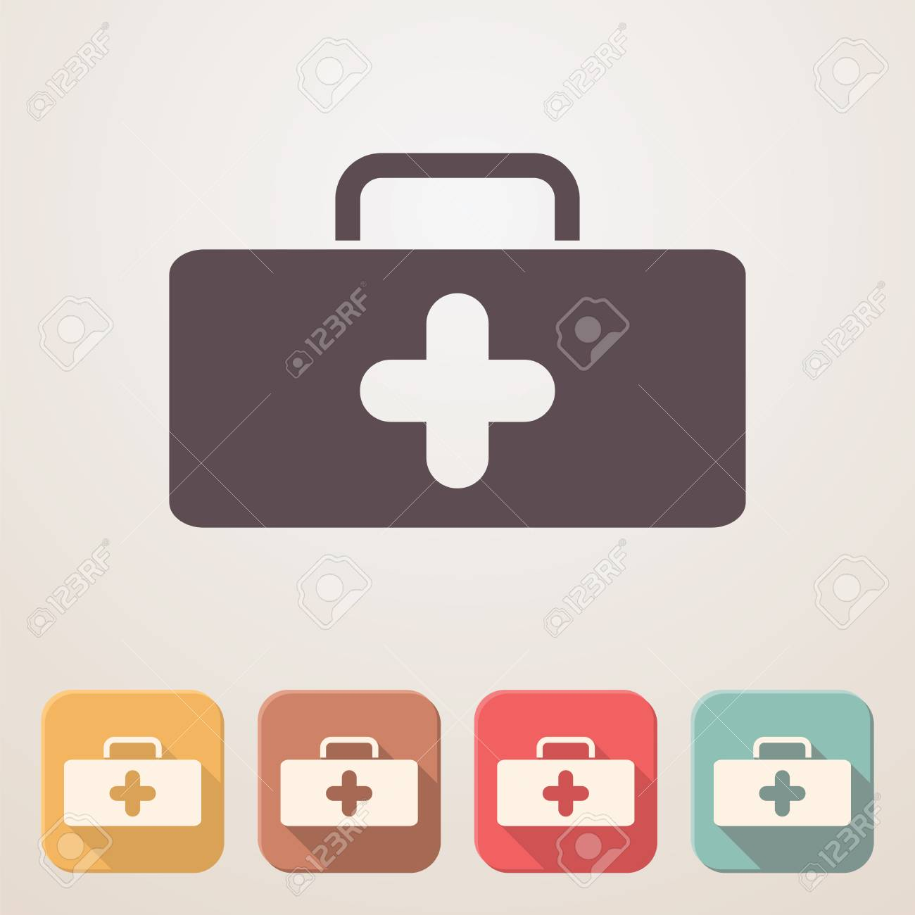 medical bag flat icon set in color boxes with shadow royalty free