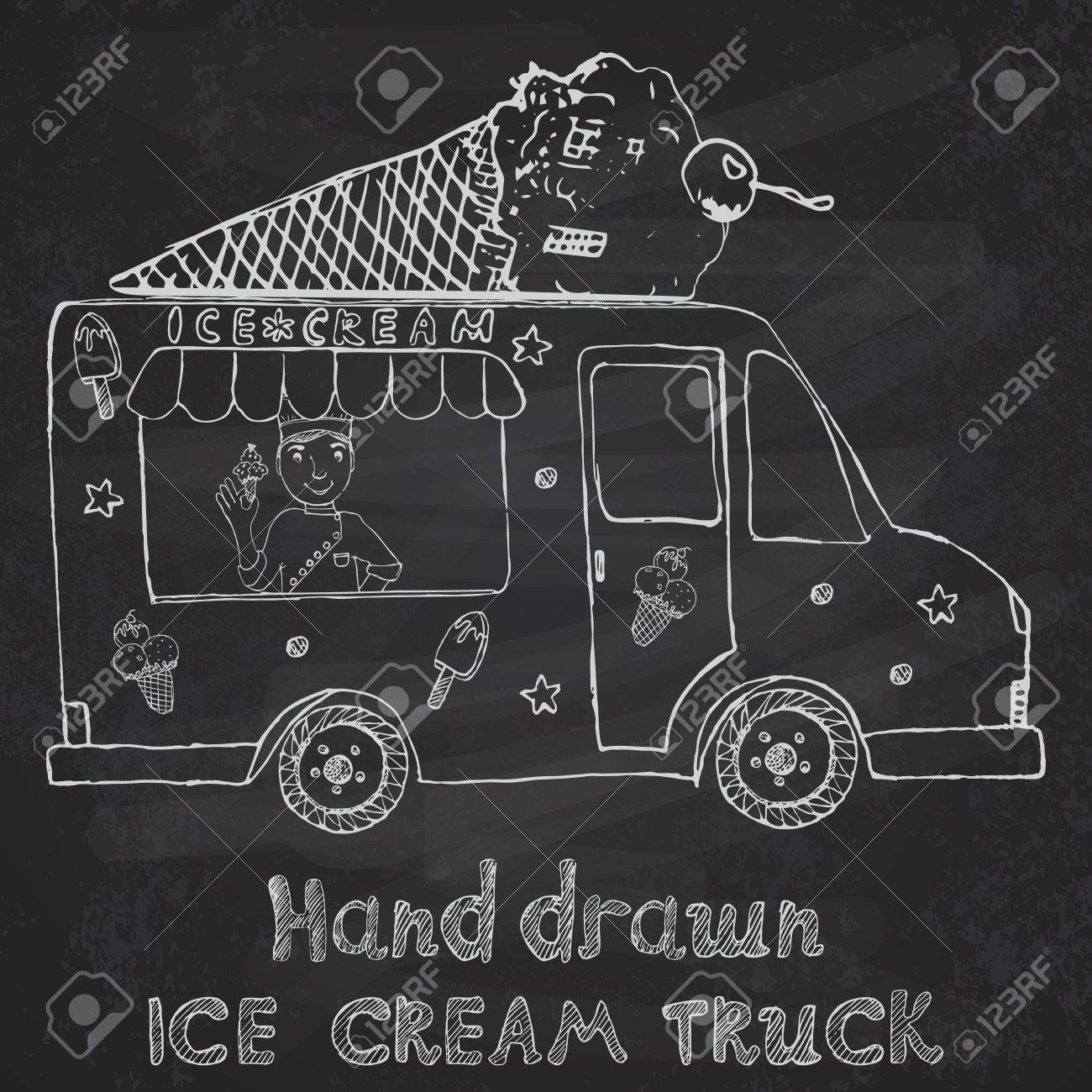 Hand Drawn Sketch Ice Cream Truck With Yang Man Seller And Ice ...