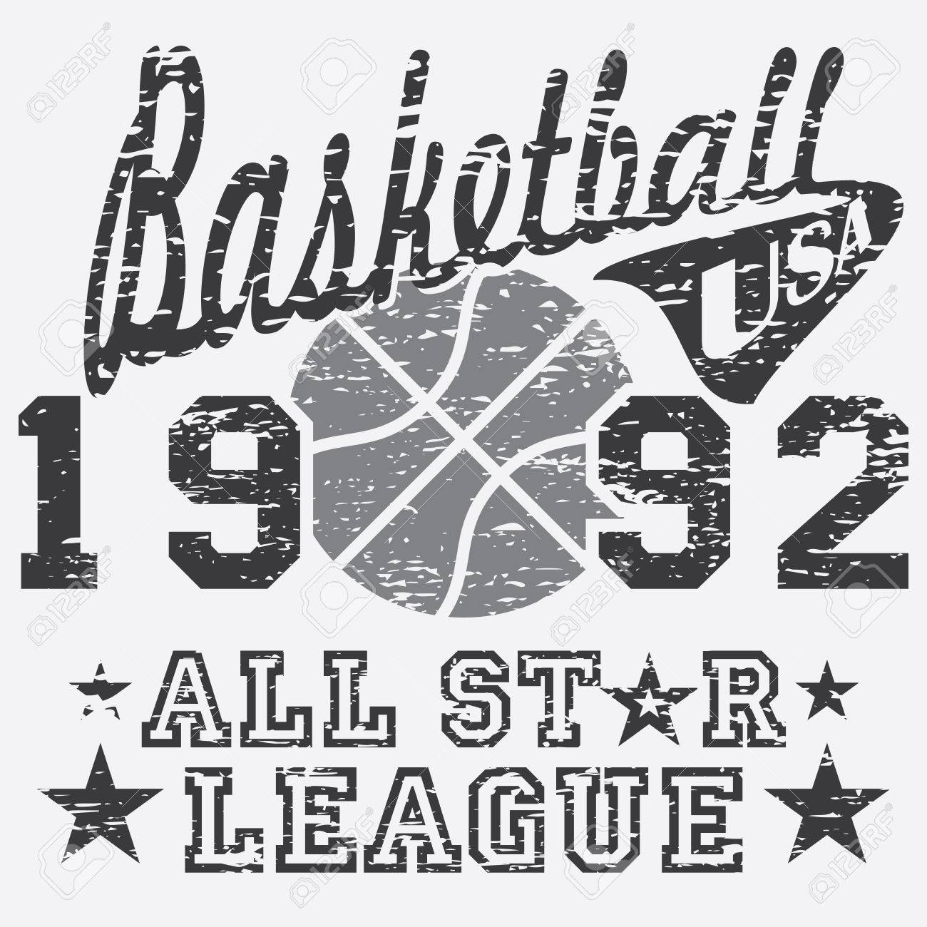 Design t shirt and print - Basketball All Star League Artwork Typography Poster T Shirt Printing Design Vector