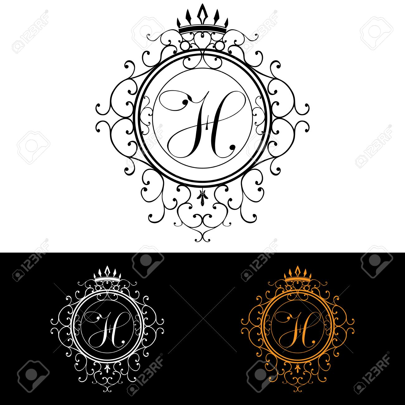 9904e94f865 Letter H. Luxury Logo template flourishes calligraphic elegant ornament  lines. Business sign