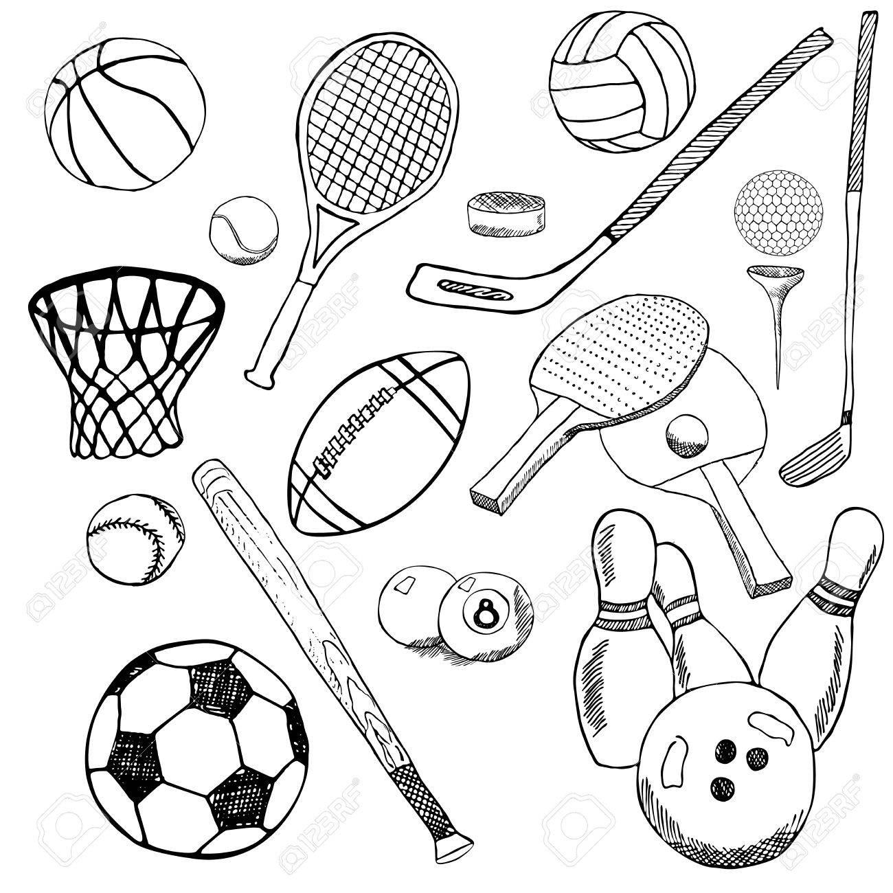 sport balls hand drawn sketch set with baseball bowling tennis football golf balls