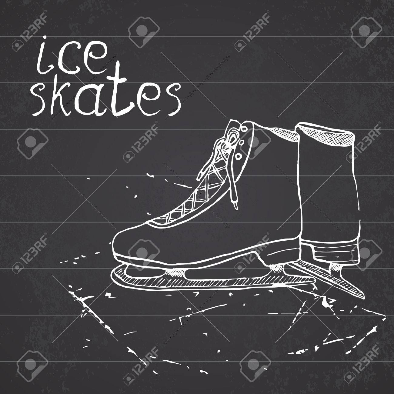 Drawing Sport Doodle Element Winter Sports Items On Chalkboard