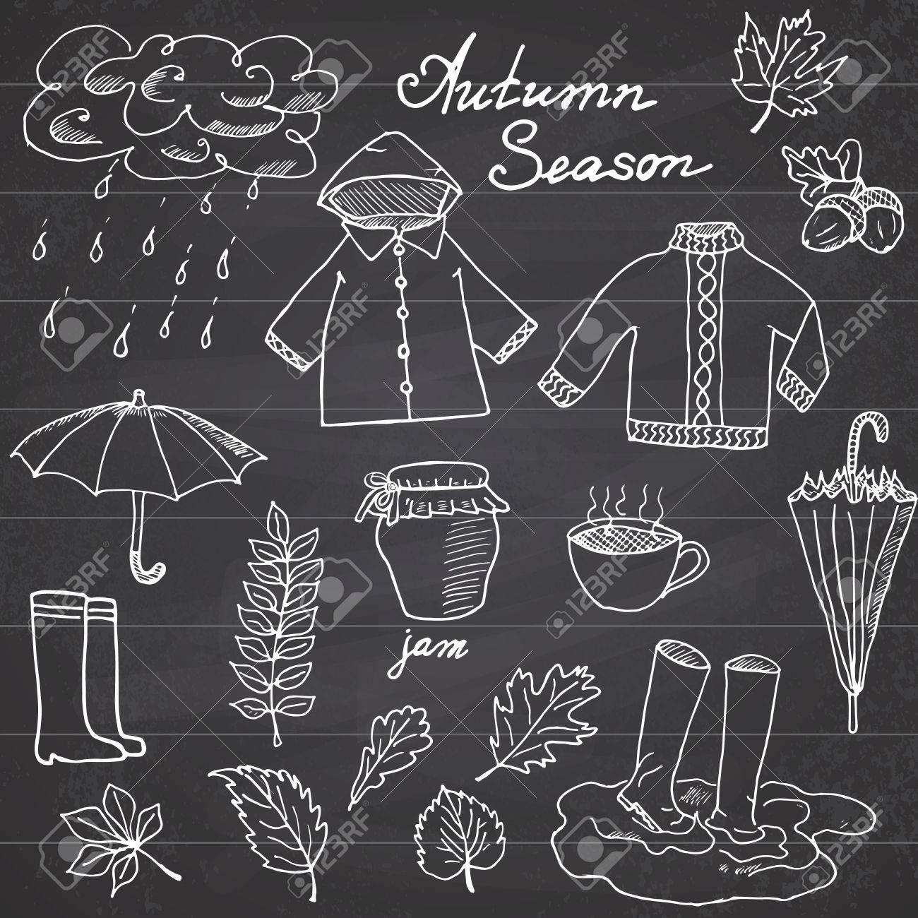 Autumn season set doodles elements  Hand drawn set with umprella