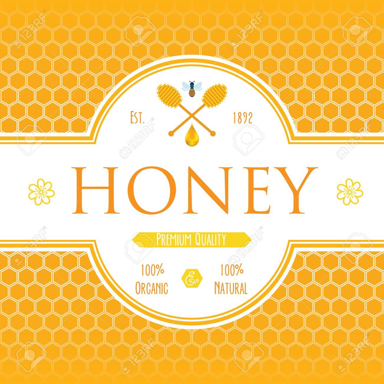 Honig Etikettenvorlage Für Honig Logo Produkte Mit Biene Und ...