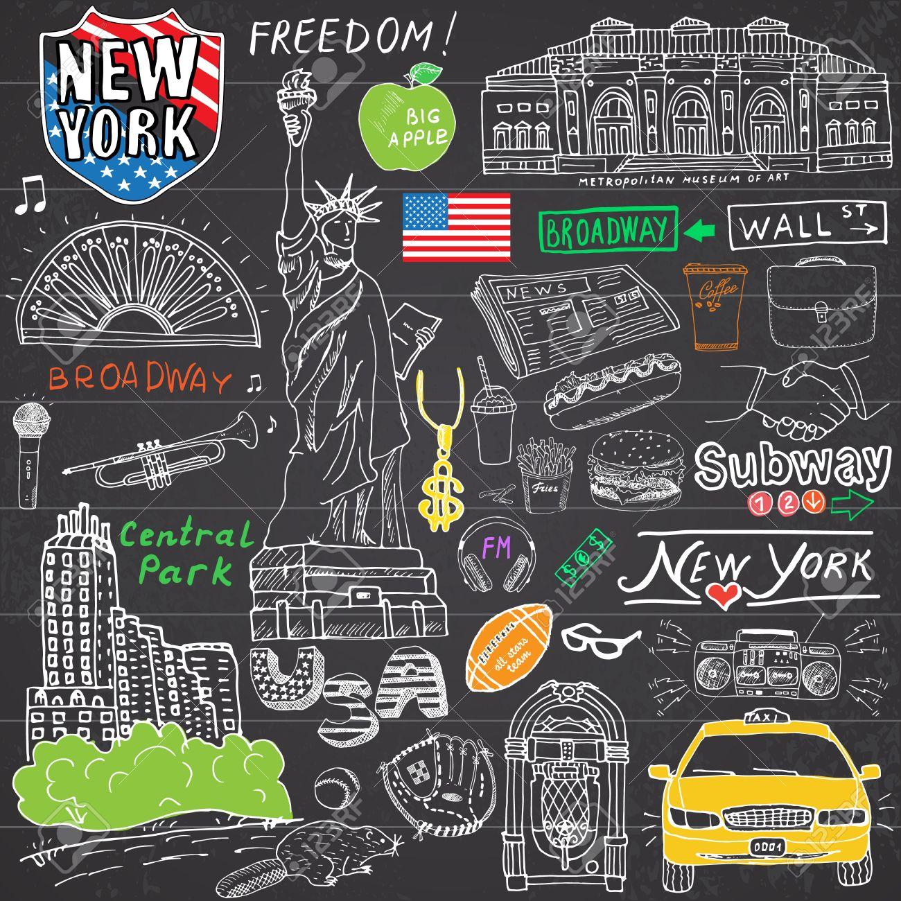 Nueva York Garabatos Ciudad Elementos. Conjunto Drenado Mano Con ...