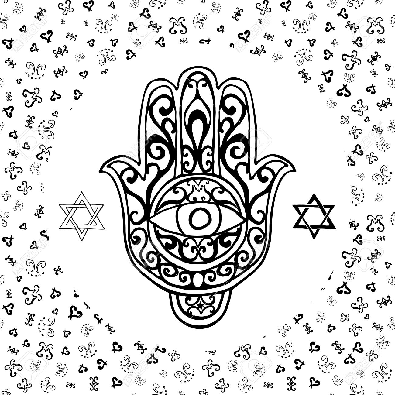 Hand Drawn Sketch Of Traditional Jewish Religious Symbols Hand