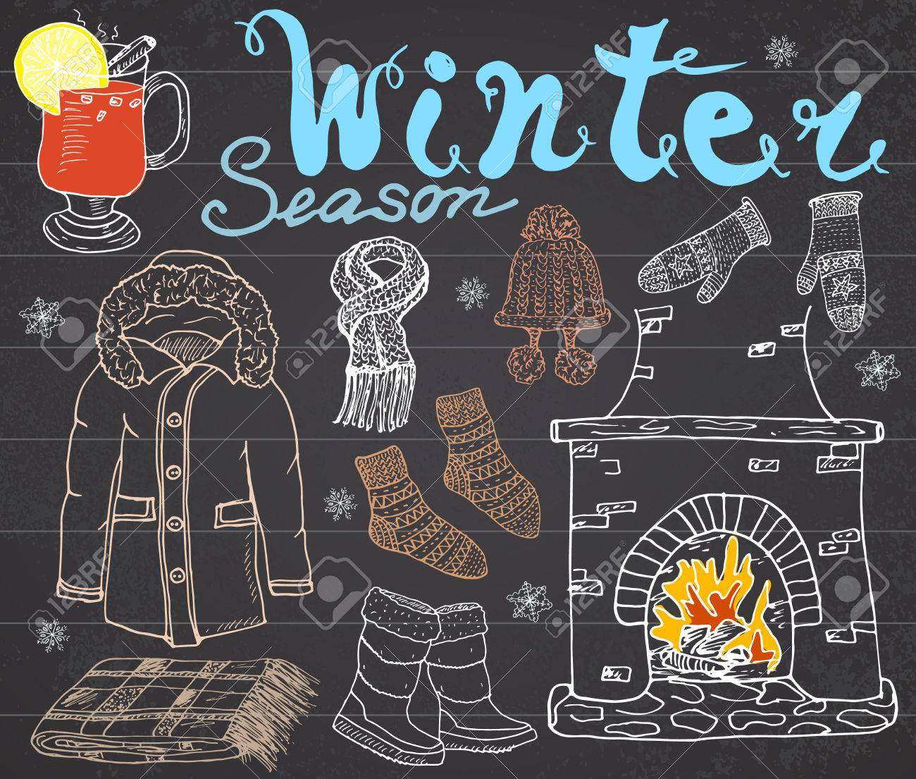 9f0a8d0510a6 Winter Season Set Doodles Elements. Hand Drawn Set With Glass ...