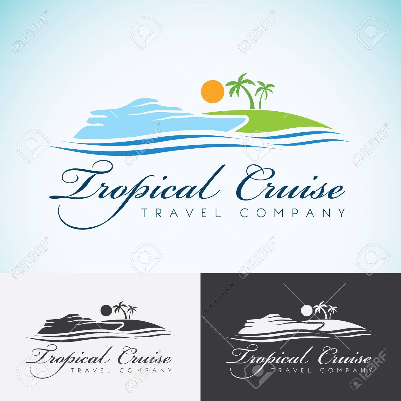 Tropical Island Yacht Yacht Palm Trees And Sun Travel Company Design Template