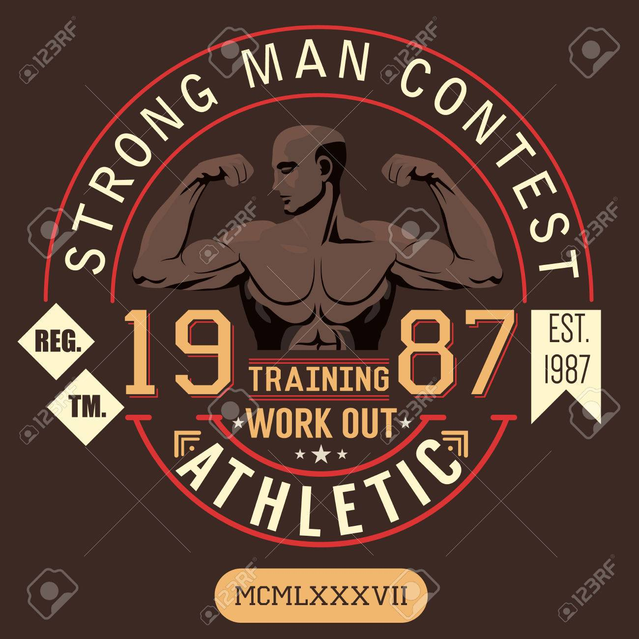 T Shirt Printing Design Typography Graphics Strong Man Contest