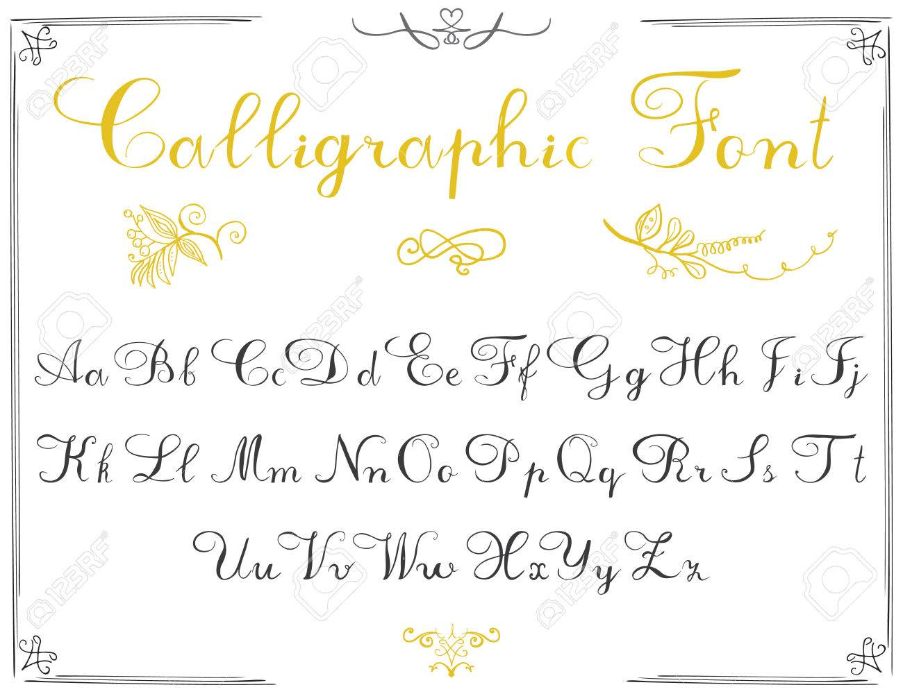 Alphabet Letters Hand Drawn Calligraphy Font Vector Written Of The