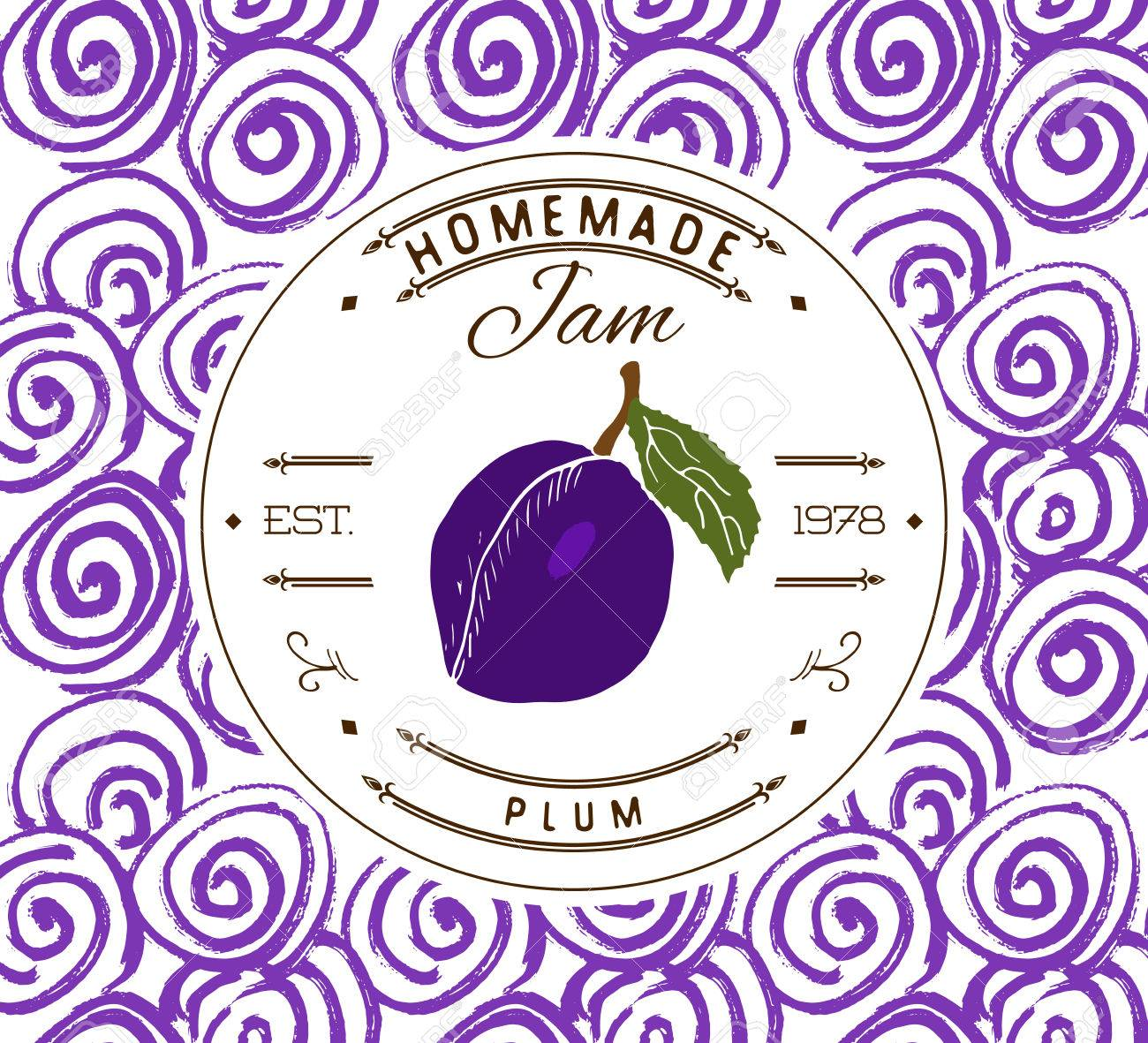 Jam label design template. for plum dessert product with hand drawn sketched fruit and background. Doodle vector plum illustration brand identity. - 51121835
