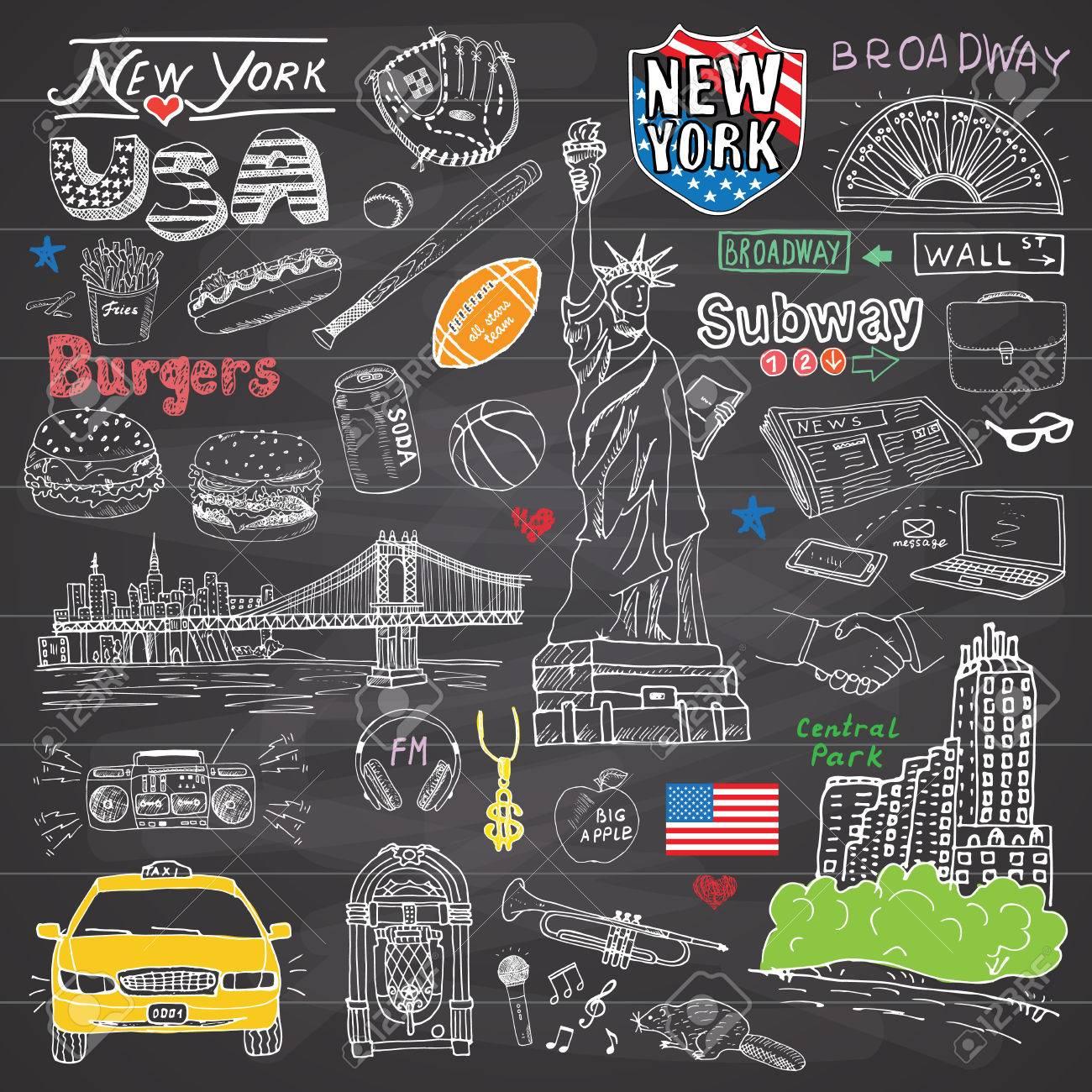Nueva York Garabatos Elementos De La Colección De La Ciudad ...