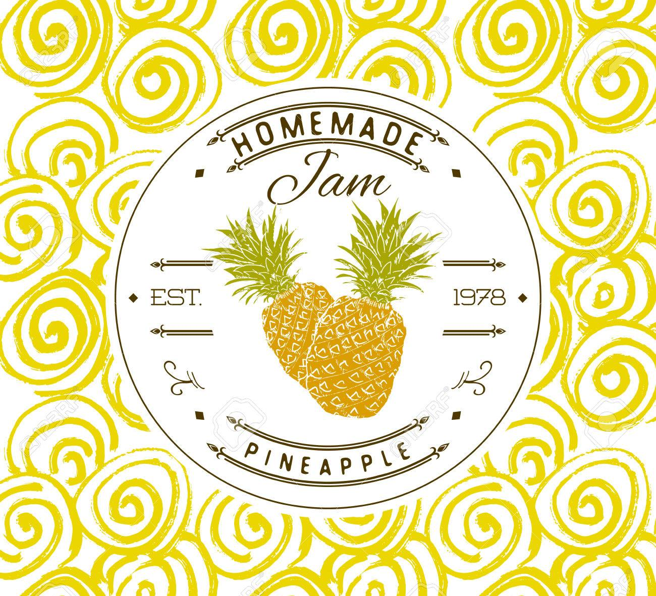 jam label design template for pineapple dessert product with