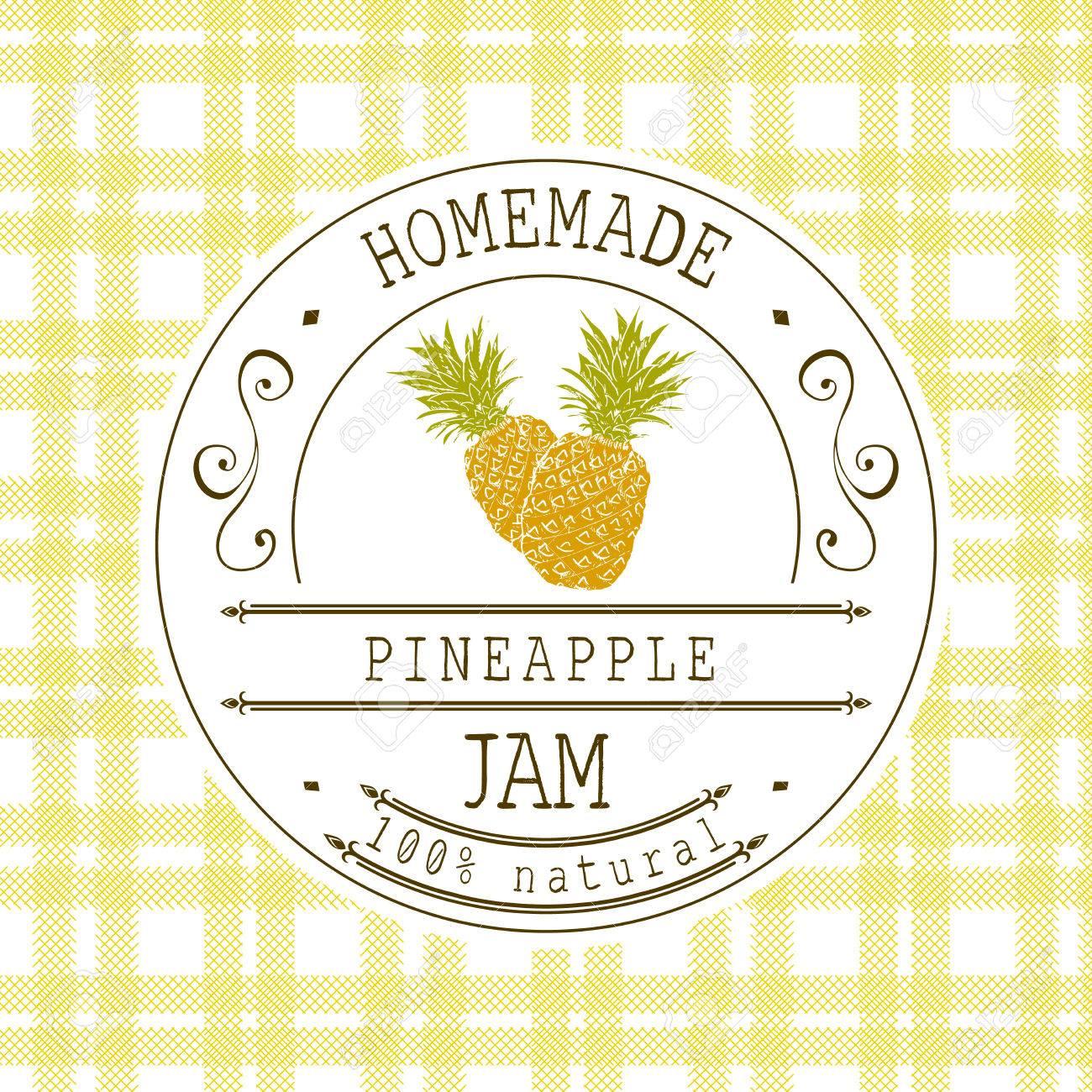 Jam-Label-Design-Vorlage. Für Ananas Dessertprodukt Mit Hand ...