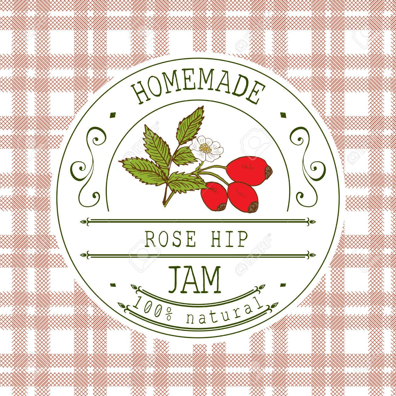 jam label design template for rose hip dessert product with