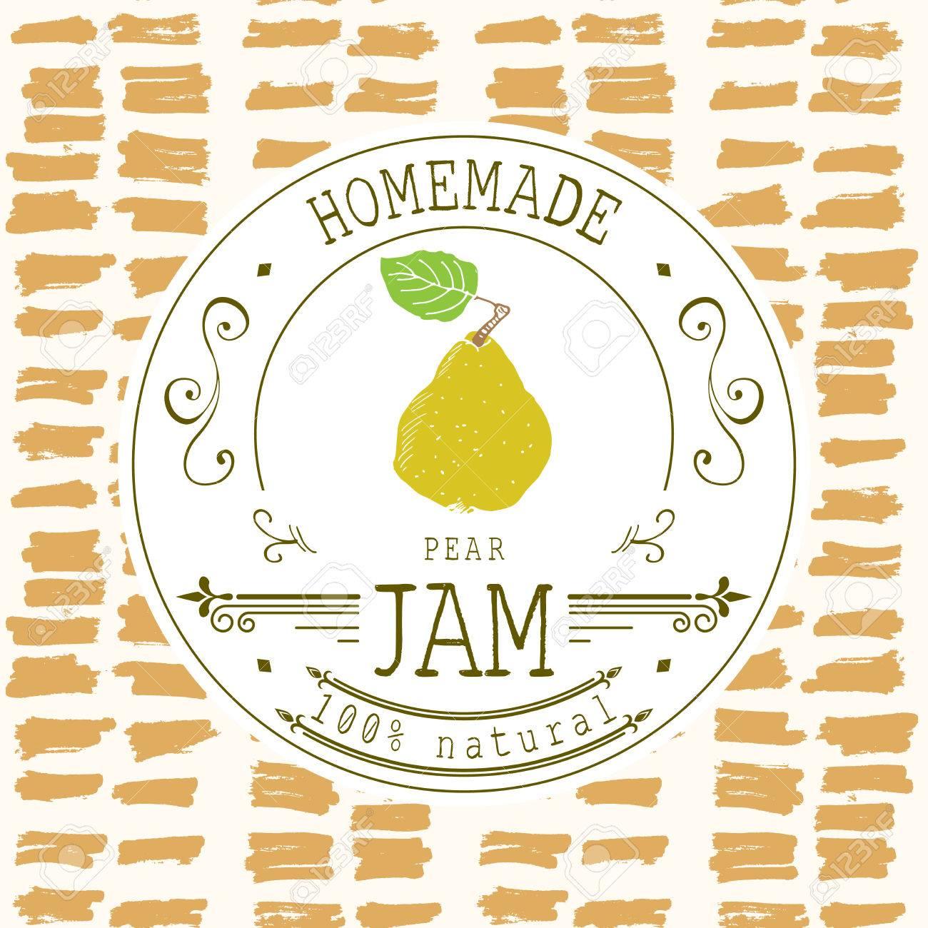 Jam-Label-Design-Vorlage. Für Birnendessertprodukt Mit Hand ...