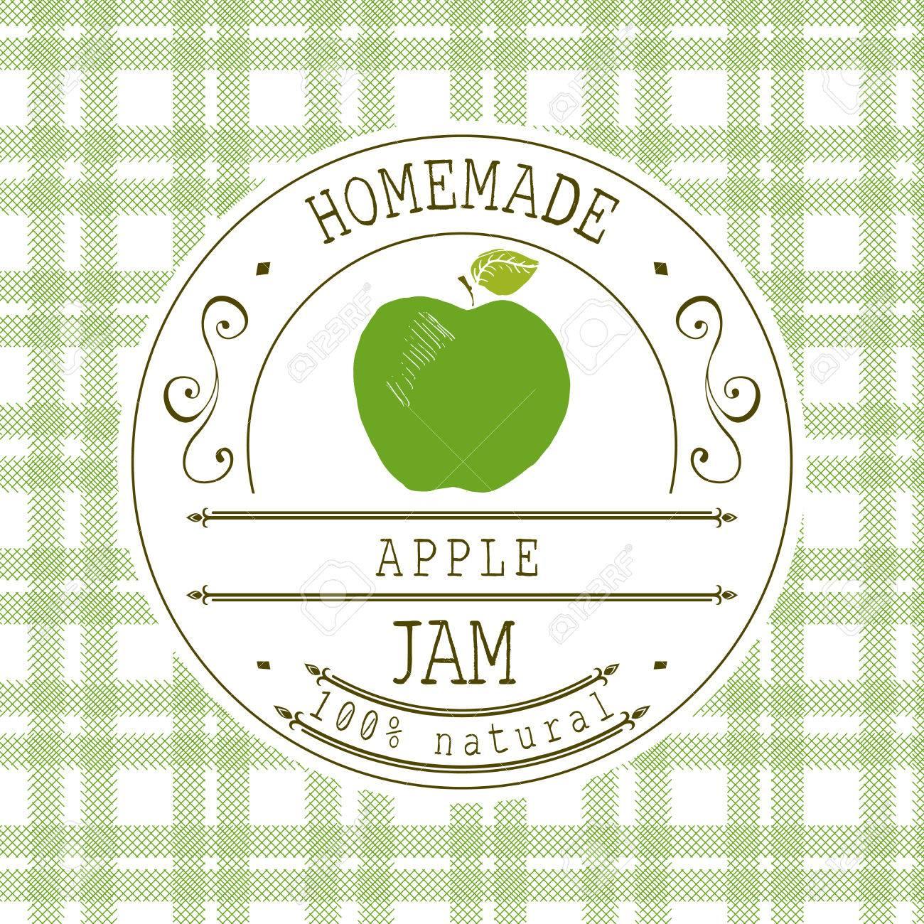 Jam-Label-Design-Vorlage. Für Apfeldessertprodukt Mit Hand ...