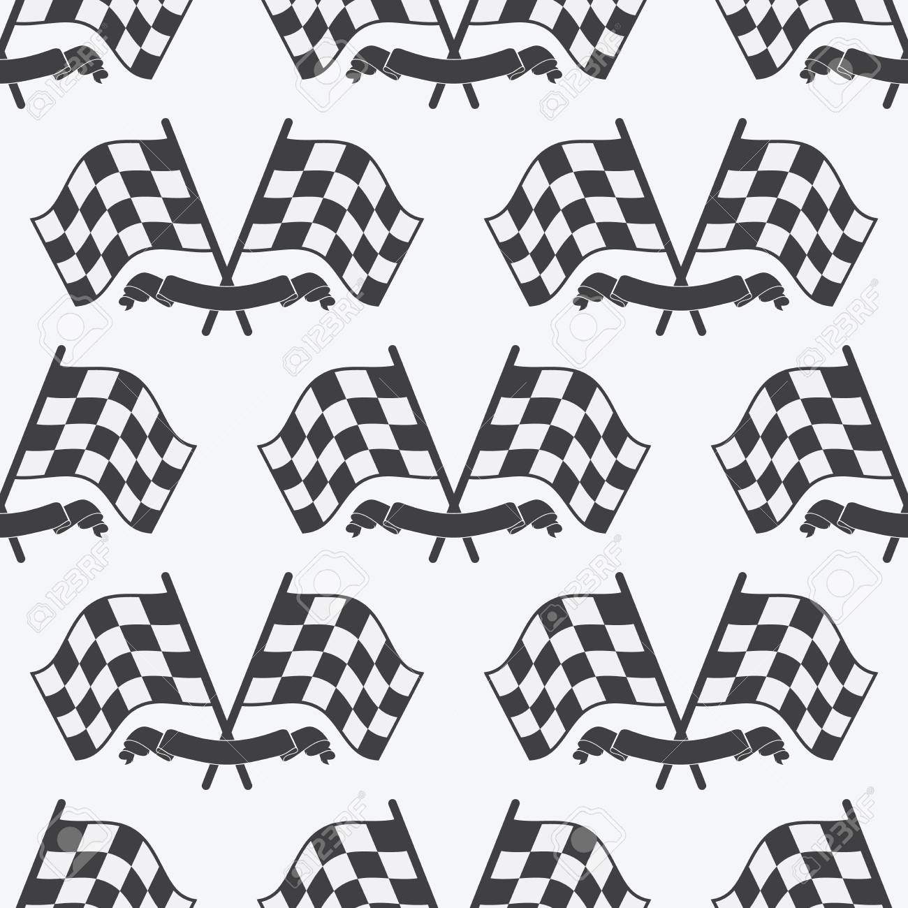 Checkered Flag Seamless Pattern Racing Flags Icon And Finish Ribbon Sport Auto Speed