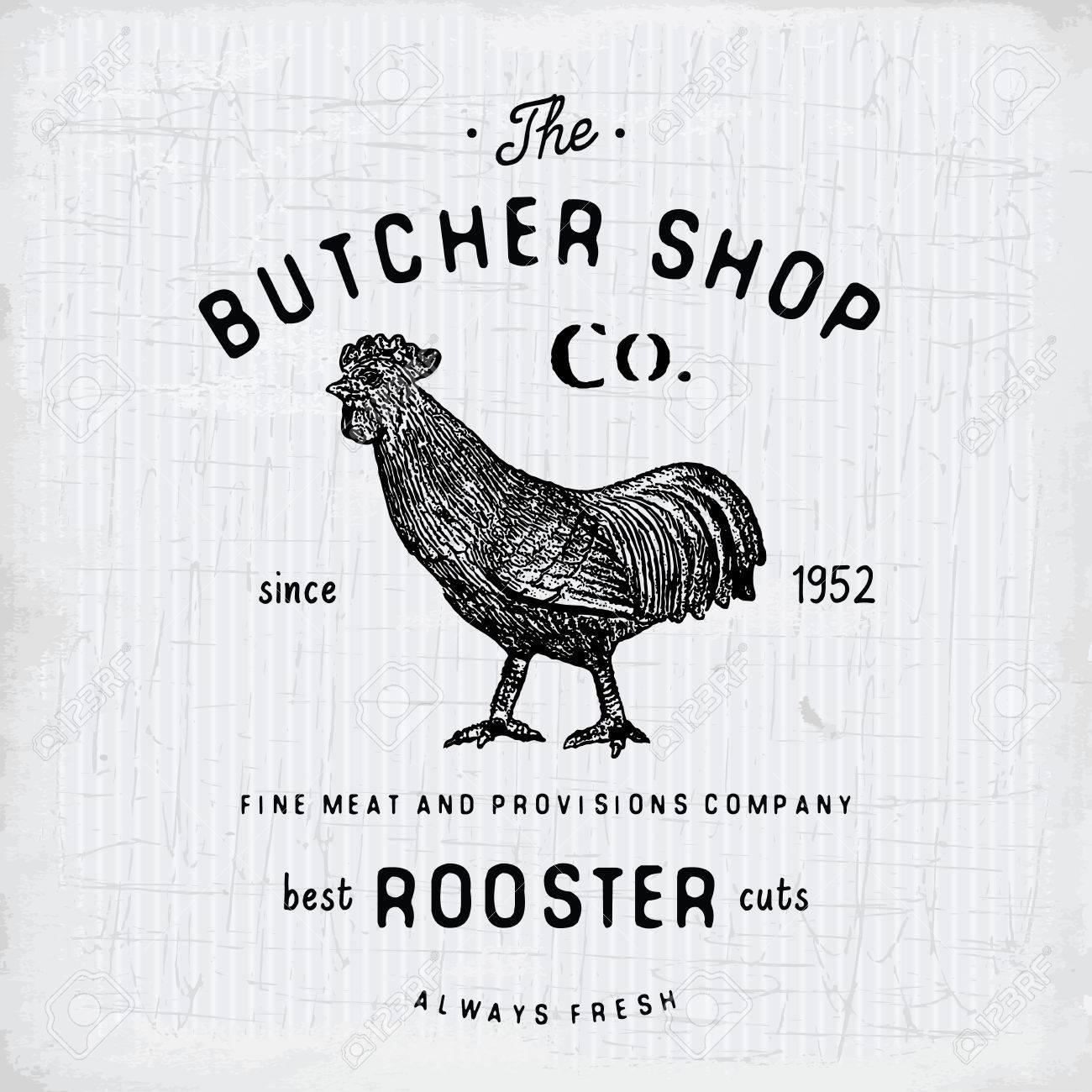 Butcher Shop vintage emblem rooster meat products, butchery template retro style. Vintage Design for , Label, Badge and brand design. vector illustration. - 58651226
