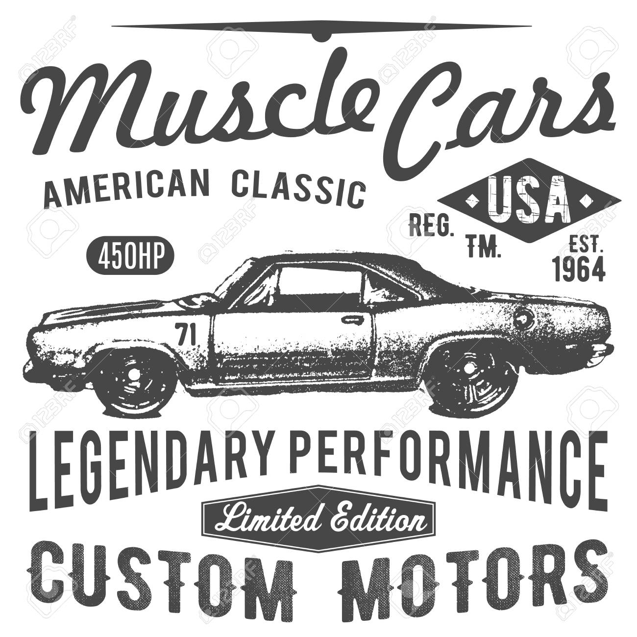 T Shirt Typography Design Retro Car Vector Printing Graphics Typographic Illustration