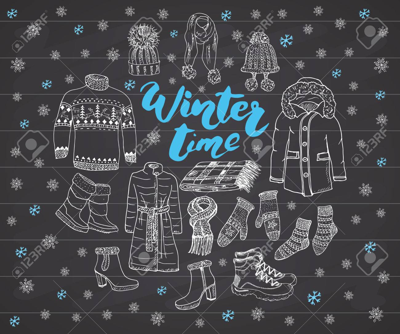 c874bf3943ef Winter Season Set Doodle Elements. Hand Drawn Sketch Colection ...