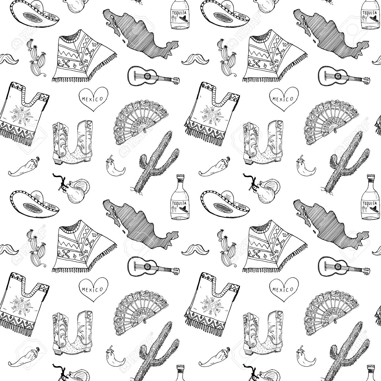 Mexico Seamless Pattern Doodle Elements ce4d86bfb14
