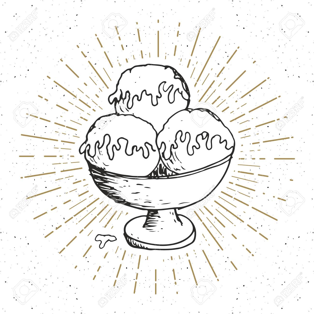 Ice Cream Sketch, Vintage Label, Hand Drawn Grunge Textured Badge ...